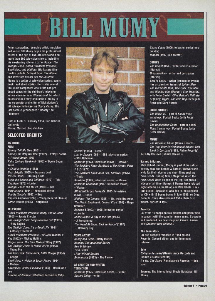 Bill Mumy Signed Babylon 5 Magazine